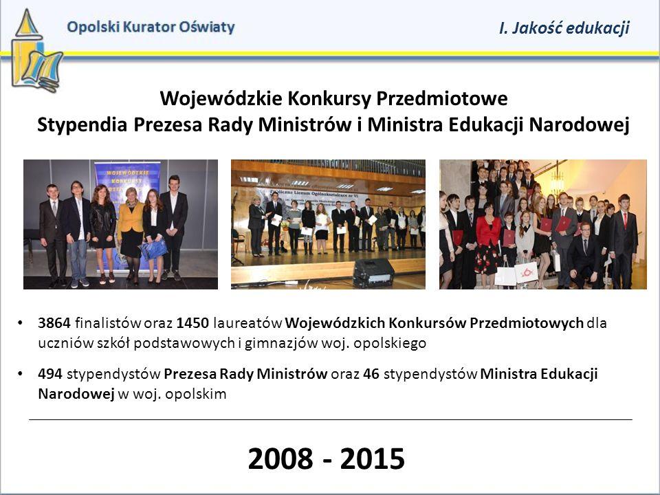 Wojewódzkie Konkursy Przedmiotowe Stypendia Prezesa Rady Ministrów i Ministra Edukacji Narodowej 3864 finalistów oraz 1450 laureatów Wojewódzkich Konk