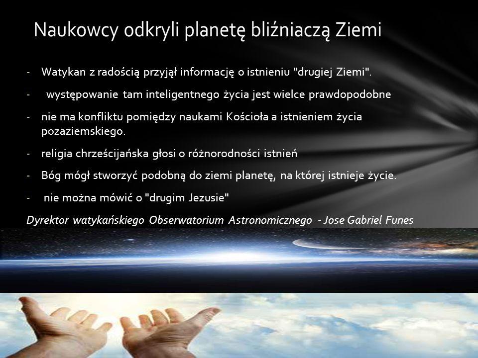 -Watykan z radością przyjął informację o istnieniu drugiej Ziemi .