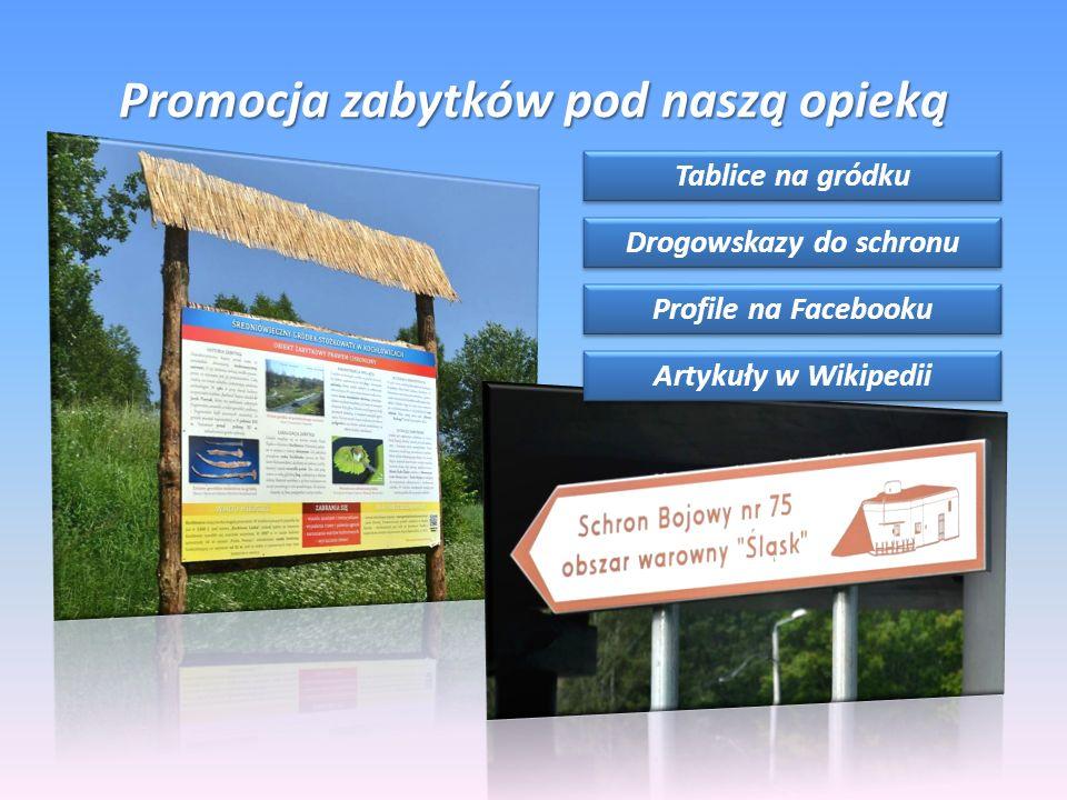 Promocja zabytków pod naszą opieką Tablice na gródku Drogowskazy do schronu Profile na Facebooku Artykuły w Wikipedii