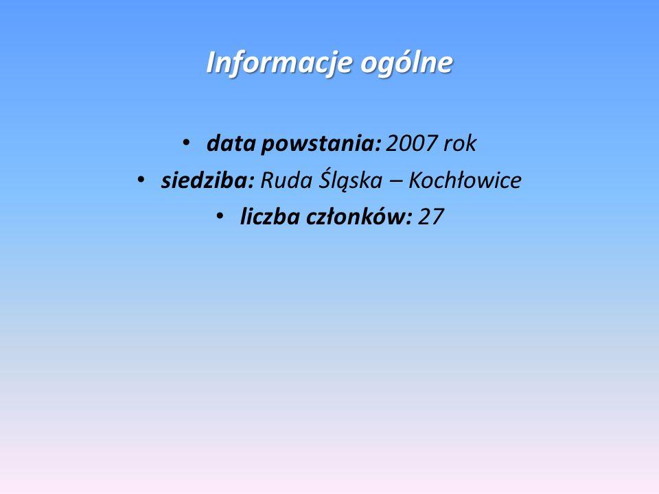 Informacje ogólne data powstania: 2007 rok siedziba: Ruda Śląska – Kochłowice liczba członków: 27