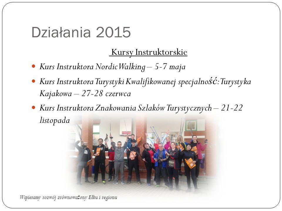 Działania 2015 Kursy Instruktorskie Kurs Instruktora Nordic Walking – 5-7 maja Kurs Instruktora Turystyki Kwalifikowanej specjalno ść : Turystyka Kajakowa – 27-28 czerwca Kurs Instruktora Znakowania Szlaków Turystycznych – 21-22 listopada Wspieramy rozwój zrównowa ż ony Ełku i regionu