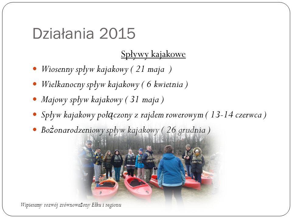 Działania 2015 Spływy kajakowe Wiosenny spływ kajakowy ( 21 maja ) Wielkanocny spływ kajakowy ( 6 kwietnia ) Majowy spływ kajakowy ( 31 maja ) Spływ k