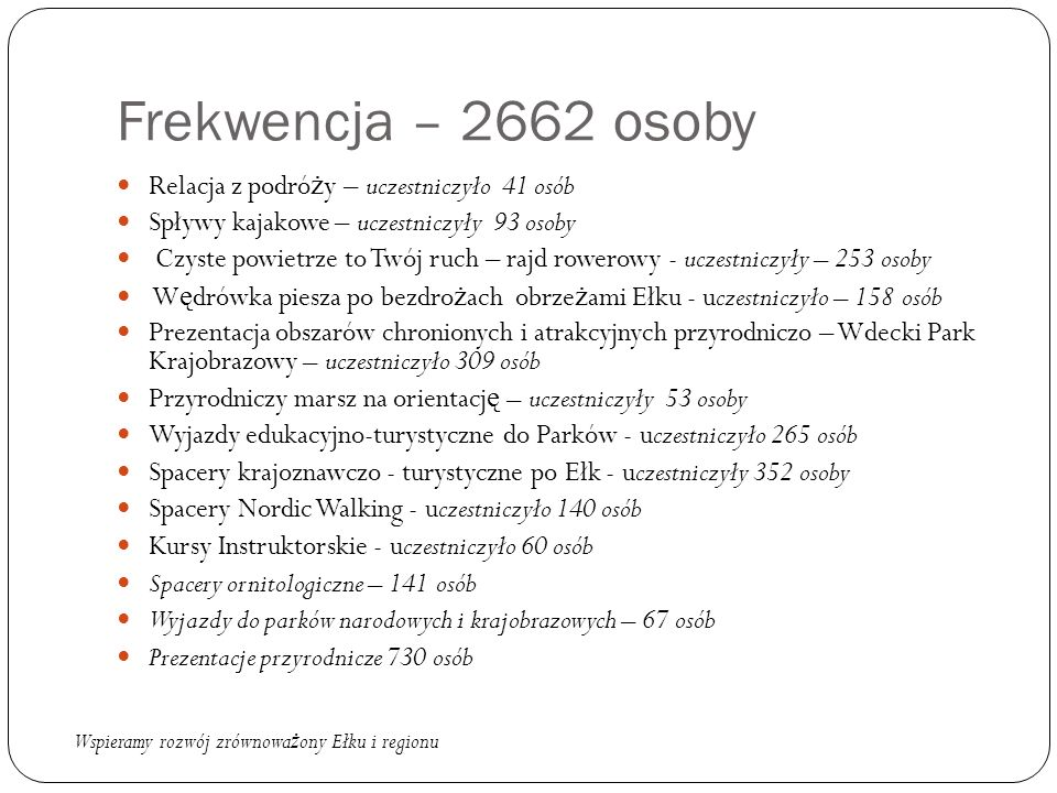 Frekwencja – 2662 osoby Relacja z podró ż y – uczestniczyło 41 osób Spływy kajakowe – uczestniczyły 93 osoby Czyste powietrze to Twój ruch – rajd rowe