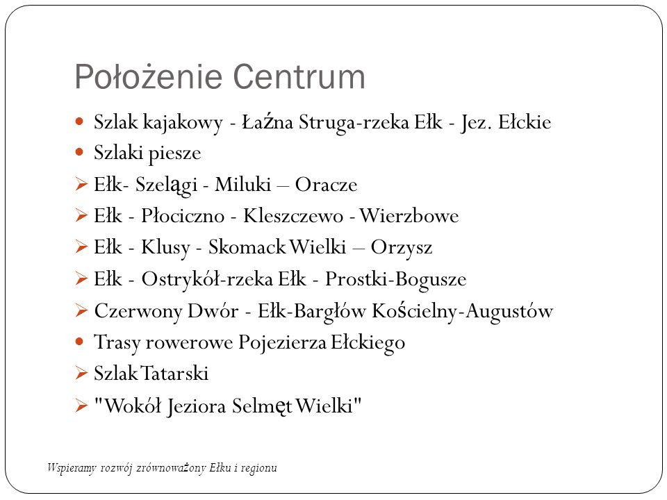 Położenie Centrum Szlak kajakowy - Ła ź na Struga-rzeka Ełk - Jez. Ełckie Szlaki piesze  Ełk- Szel ą gi - Miluki – Oracze  Ełk - Płociczno - Kleszcz