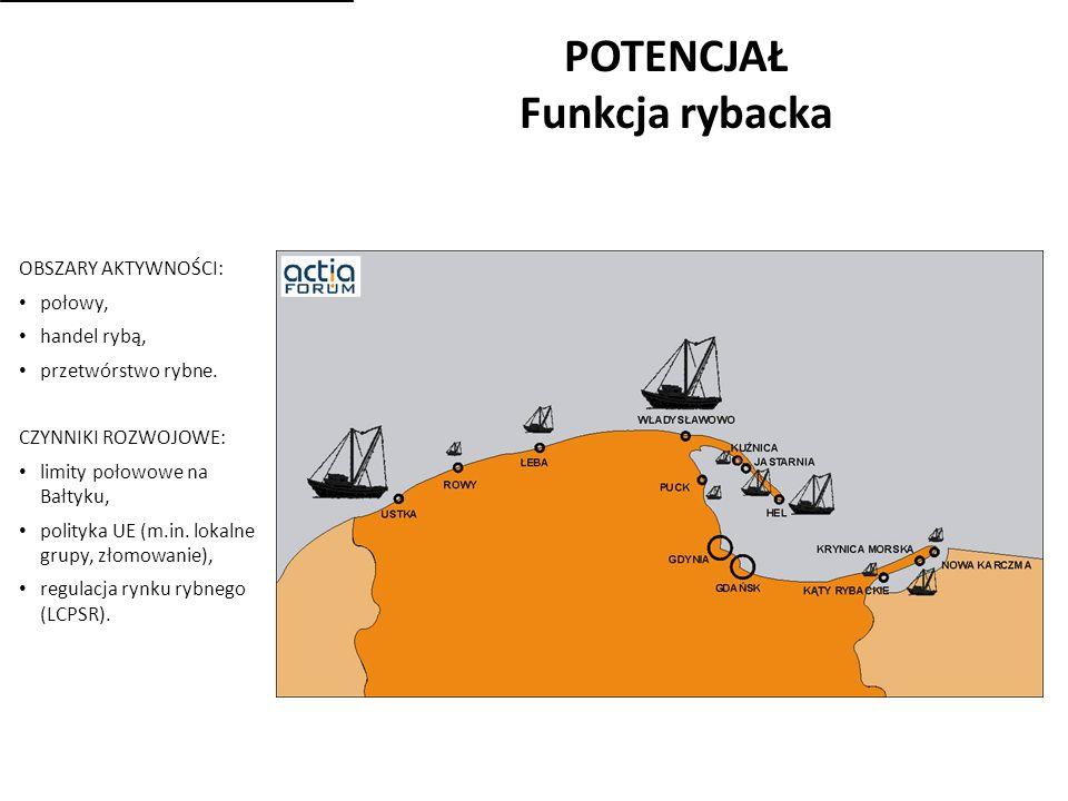 POTENCJAŁ Funkcja rybacka OBSZARY AKTYWNOŚCI: połowy, handel rybą, przetwórstwo rybne.