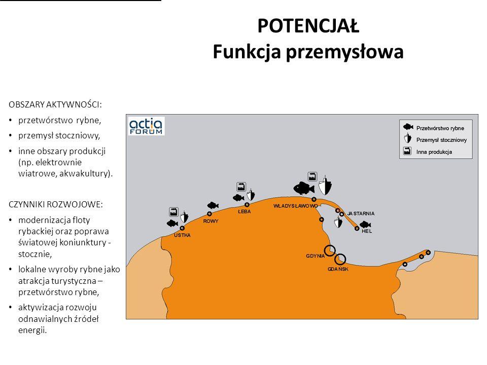 POTENCJAŁ Funkcja przemysłowa OBSZARY AKTYWNOŚCI: przetwórstwo rybne, przemysł stoczniowy, inne obszary produkcji (np.