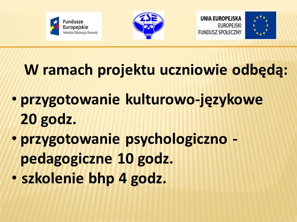 W ramach projektu uczniowie odbędą: przygotowanie kulturowo-językowe 20 godz. przygotowanie psychologiczno - pedagogiczne 10 godz. szkolenie bhp 4 god