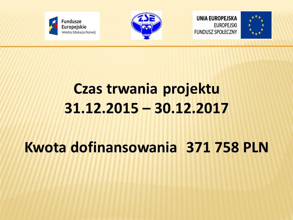 Czas trwania projektu 31.12.2015 – 30.12.2017 Kwota dofinansowania 371 758 PLN