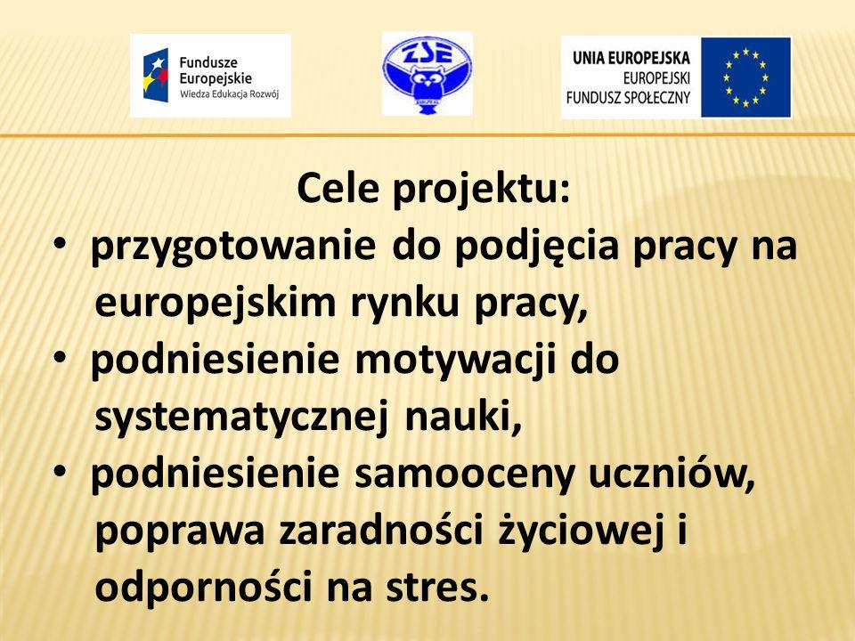 Cele projektu: przygotowanie do podjęcia pracy na europejskim rynku pracy, podniesienie motywacji do systematycznej nauki, podniesienie samooceny uczn