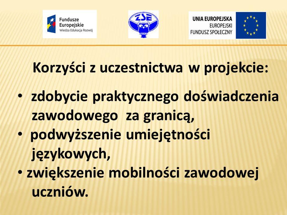 Korzyści z uczestnictwa w projekcie: zdobycie praktycznego doświadczenia zawodowego za granicą, podwyższenie umiejętności językowych, zwiększenie mobi