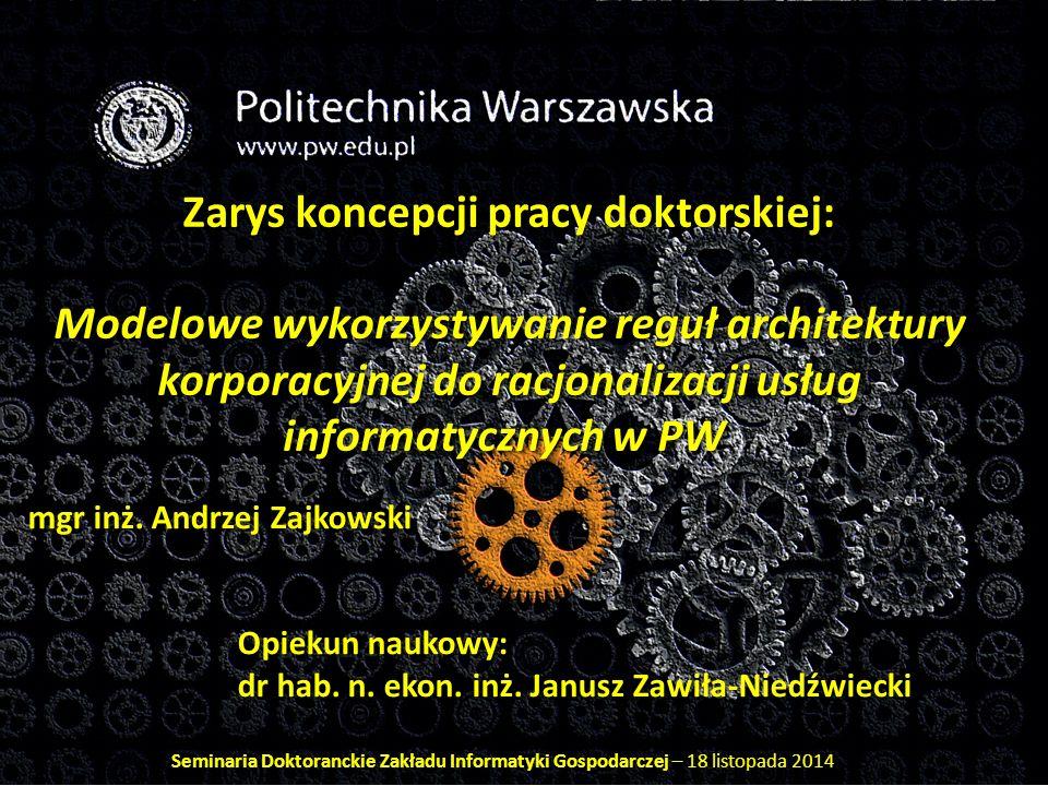 Badania Analiza źródeł: Analiza strategii unijnych w zakresie budowy e- administracji Analiza polskiego prawa odnośnie do interoperacyjności Analiza norm wspierających zarządzanie usługami IT Analiza literatury obejmująca kwestie: (a) podejścia procesowego, (b) kształtowania struktur organizacyjnych i kompetencji poszczególnych komórek organizacyjnych, (c) tzw.
