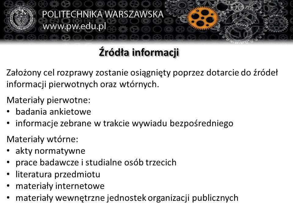 Źródła informacji Założony cel rozprawy zostanie osiągnięty poprzez dotarcie do źródeł informacji pierwotnych oraz wtórnych. Materiały pierwotne: bada