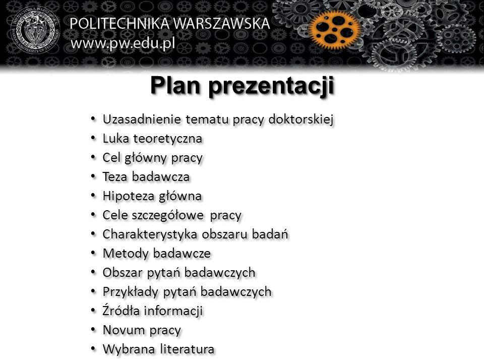 Plan prezentacji Uzasadnienie tematu pracy doktorskiej Luka teoretyczna Cel główny pracy Teza badawcza Hipoteza główna Cele szczegółowe pracy Charakte