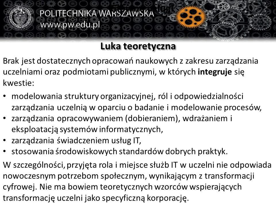 Główne usługi Luka teoretyczna Brak jest dostatecznych opracowań naukowych z zakresu zarządzania uczelniami oraz podmiotami publicznymi, w których int