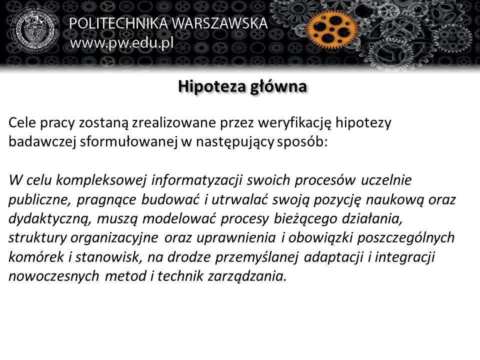 Hipoteza główna Cele pracy zostaną zrealizowane przez weryfikację hipotezy badawczej sformułowanej w następujący sposób: W celu kompleksowej informaty