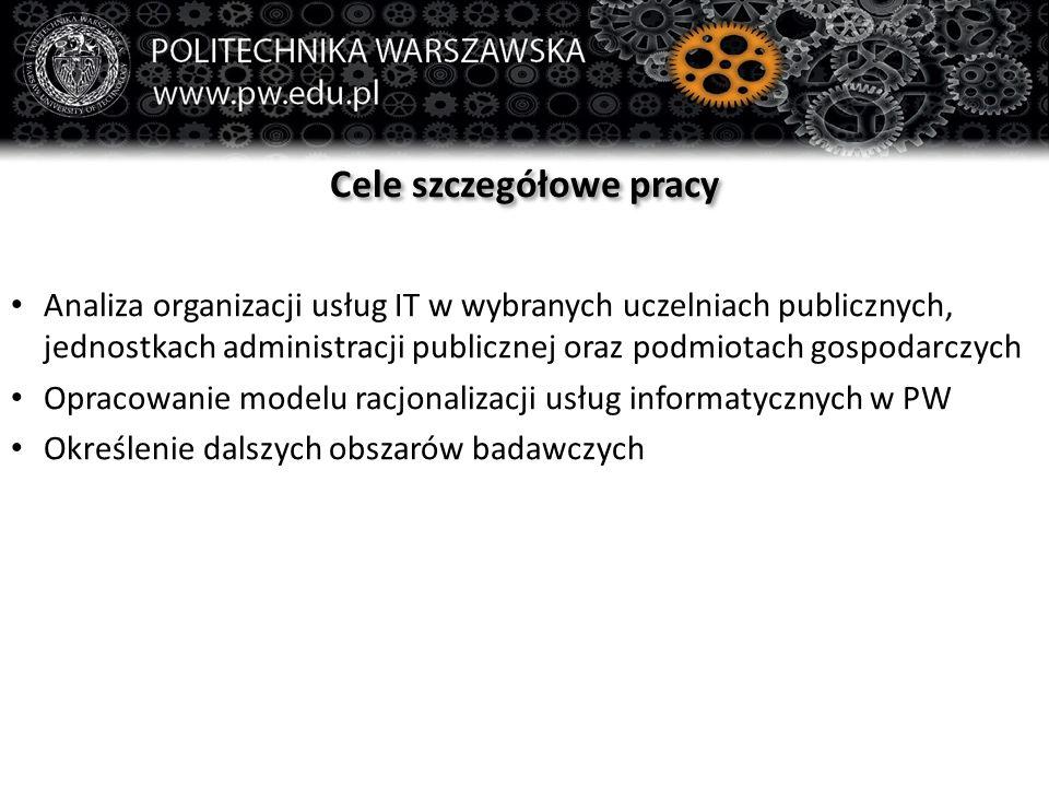 Cele szczegółowe pracy Analiza organizacji usług IT w wybranych uczelniach publicznych, jednostkach administracji publicznej oraz podmiotach gospodarc