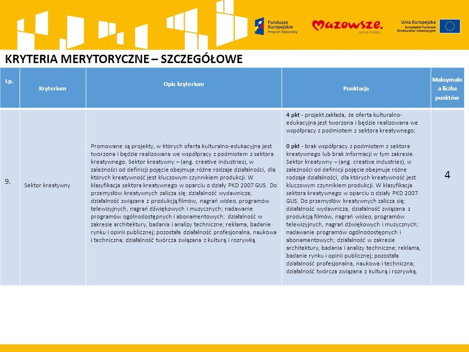 KRYTERIA MERYTORYCZNE – SZCZEGÓŁOWE Lp. Kryterium Opis kryterium Punktacja Maksymaln a liczba punktów 9. Sektor kreatywny Promowane są projekty, w któ
