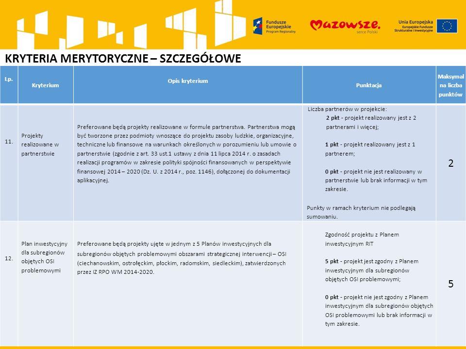 KRYTERIA MERYTORYCZNE – SZCZEGÓŁOWE Lp. Kryterium Opis kryterium Punktacja Maksymal na liczba punktów 11. Projekty realizowane w partnerstwie Preferow
