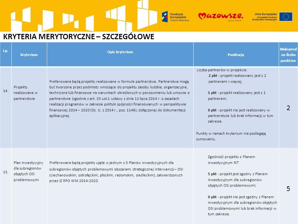 KRYTERIA MERYTORYCZNE – SZCZEGÓŁOWE Lp. Kryterium Opis kryterium Punktacja Maksymal na liczba punktów 14. Projekty realizowane w partnerstwie Preferow