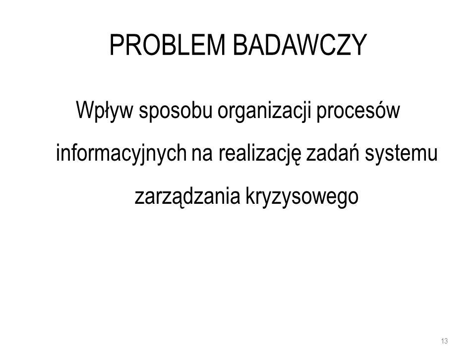 PROBLEM BADAWCZY Wpływ sposobu organizacji procesów informacyjnych na realizację zadań systemu zarządzania kryzysowego 13