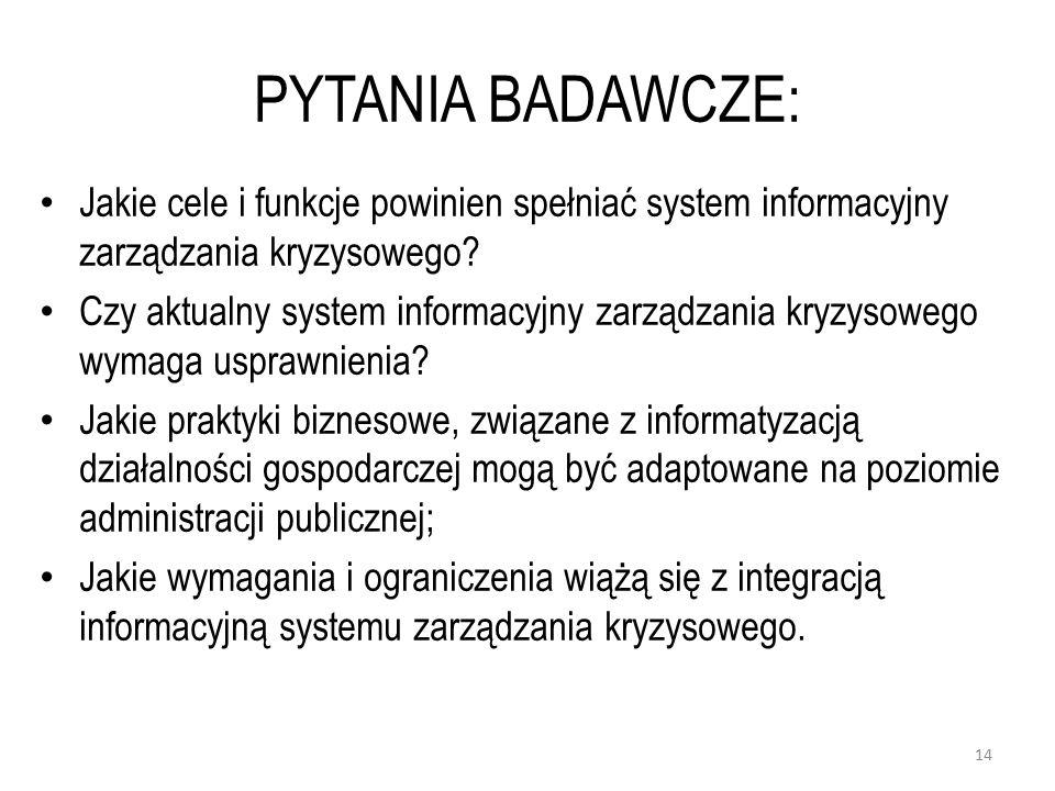 PYTANIA BADAWCZE: Jakie cele i funkcje powinien spełniać system informacyjny zarządzania kryzysowego.