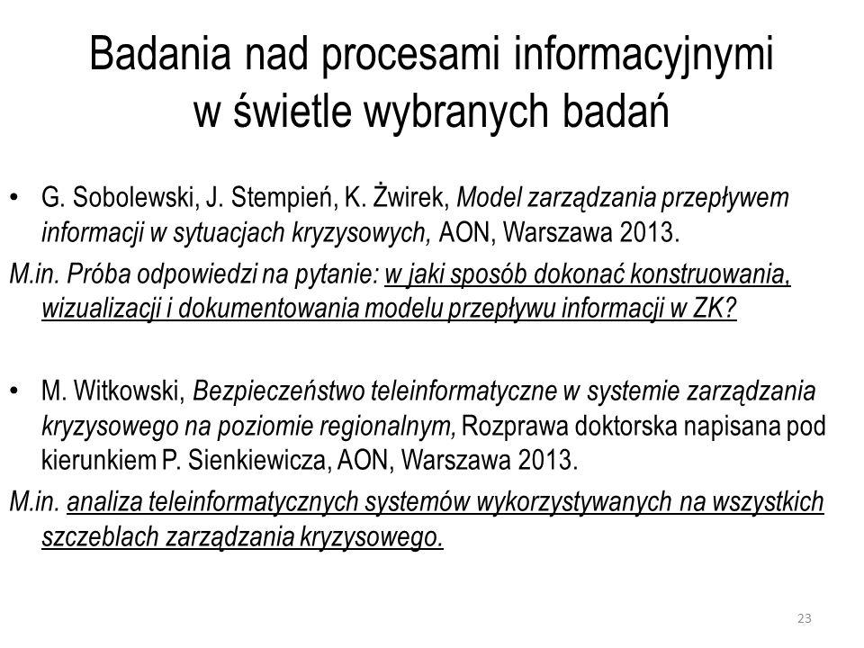 Badania nad procesami informacyjnymi w świetle wybranych badań G.