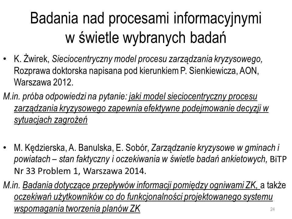 Badania nad procesami informacyjnymi w świetle wybranych badań K.