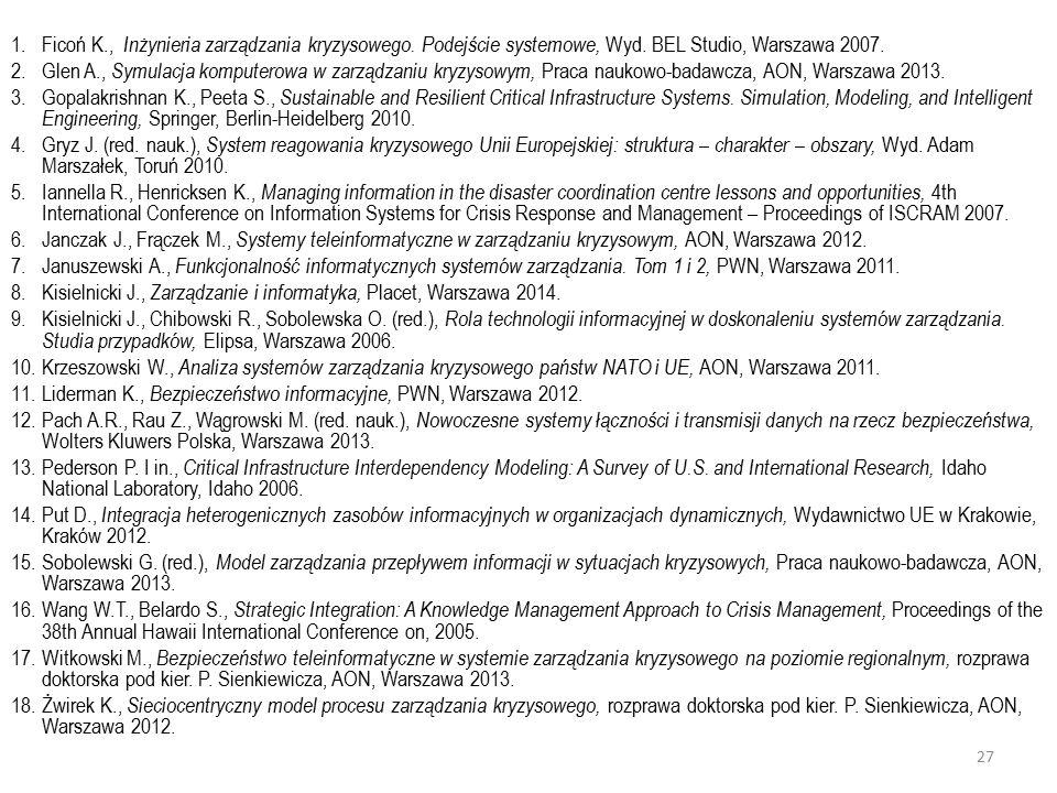 1.Ficoń K., Inżynieria zarządzania kryzysowego.Podejście systemowe, Wyd.