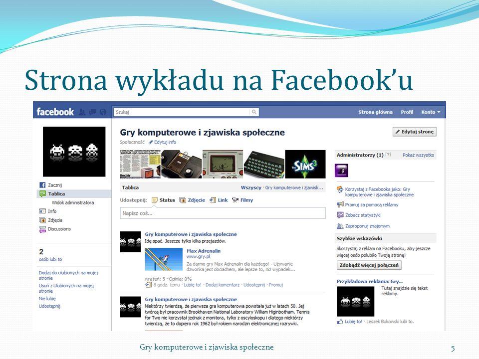 Strona wykładu na Facebook'u 5Gry komputerowe i zjawiska społeczne