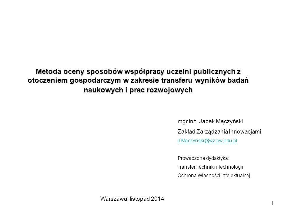 1 Metoda oceny sposobów współpracy uczelni publicznych z otoczeniem gospodarczym w zakresie transferu wyników badań naukowych i prac rozwojowych mgr i