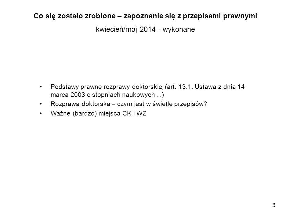 3 Co się zostało zrobione – zapoznanie się z przepisami prawnymi kwiecień/maj 2014 - wykonane Podstawy prawne rozprawy doktorskiej (art. 13.1. Ustawa