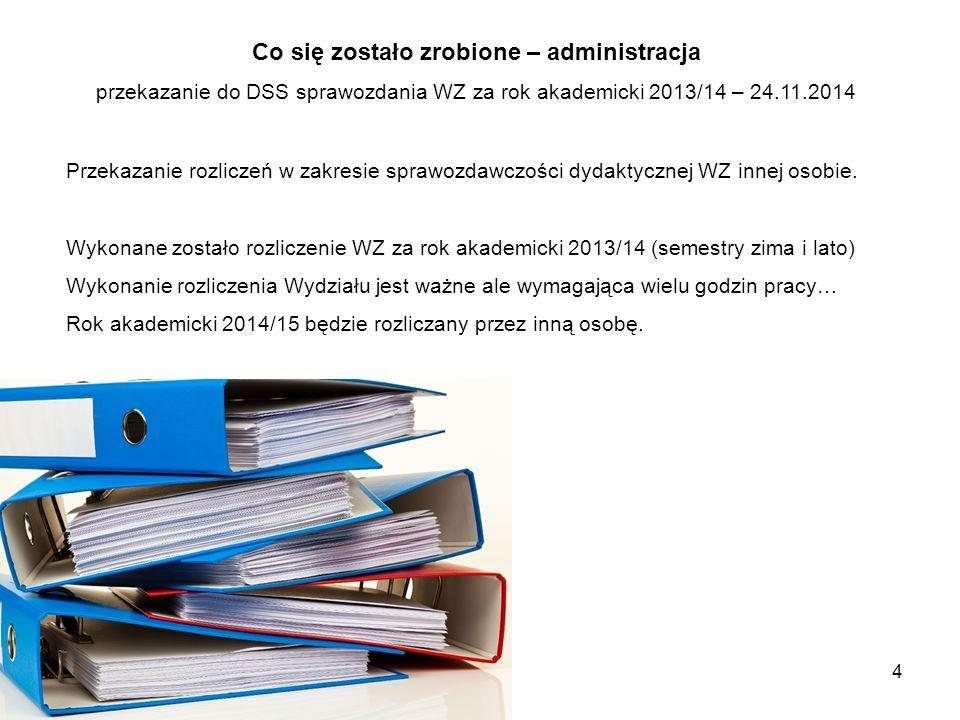 4 Co się zostało zrobione – administracja przekazanie do DSS sprawozdania WZ za rok akademicki 2013/14 – 24.11.2014 Przekazanie rozliczeń w zakresie s