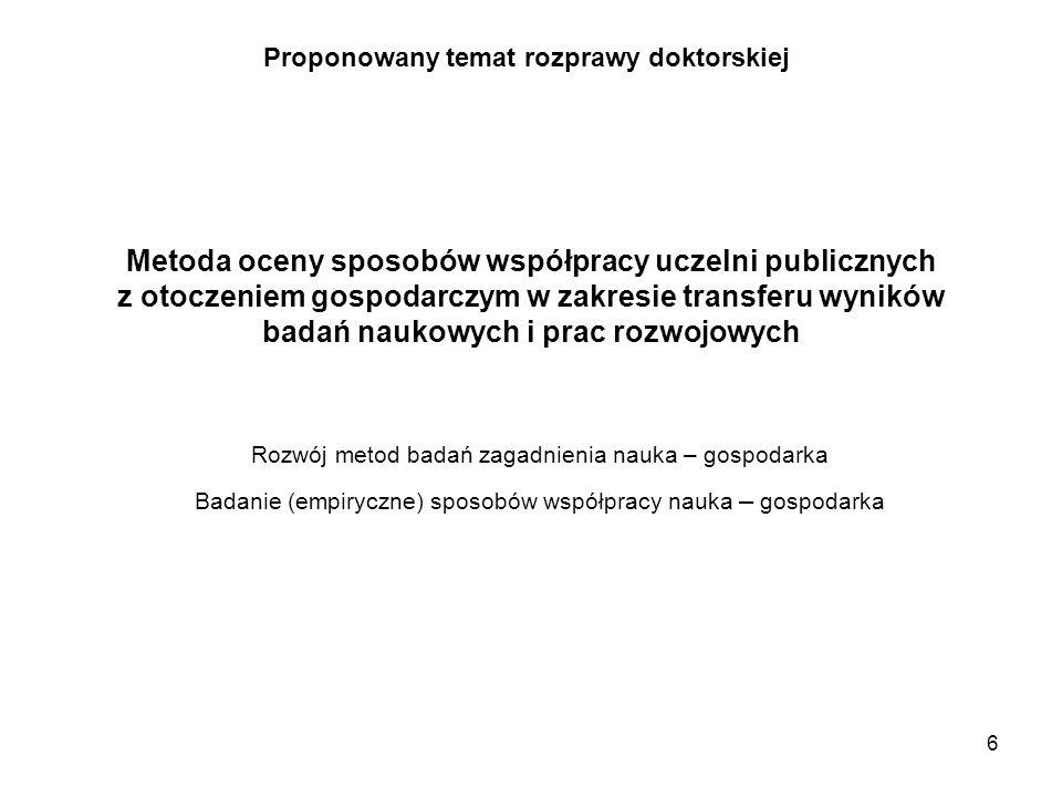 6 Proponowany temat rozprawy doktorskiej Metoda oceny sposobów współpracy uczelni publicznych z otoczeniem gospodarczym w zakresie transferu wyników b