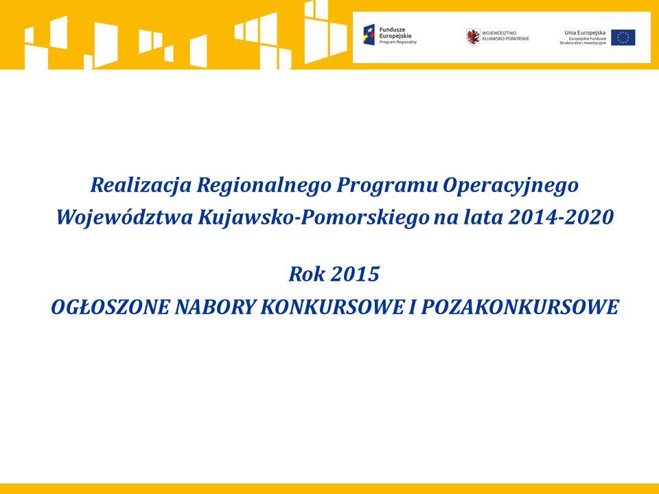 Realizacja Regionalnego Programu Operacyjnego Województwa Kujawsko-Pomorskiego na lata 2014-2020 Rok 2015 OGŁOSZONE NABORY KONKURSOWE I POZAKONKURSOWE