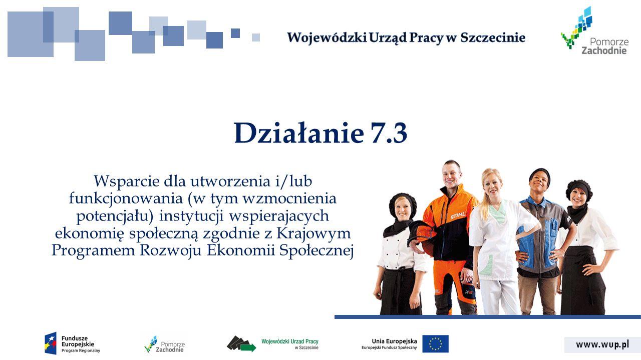 www.wup.pl Działanie 7.3 Wsparcie dla utworzenia i/lub funkcjonowania (w tym wzmocnienia potencjału) instytucji wspierajacych ekonomię społeczną zgodnie z Krajowym Programem Rozwoju Ekonomii Społecznej