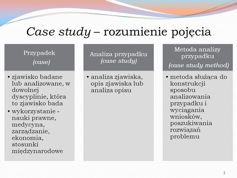 Case study – rozumienie pojęcia Przypadek (case) zjawisko badane lub analizowane, w dowolnej dyscyplinie, która to zjawisko bada wykorzystanie - nauki