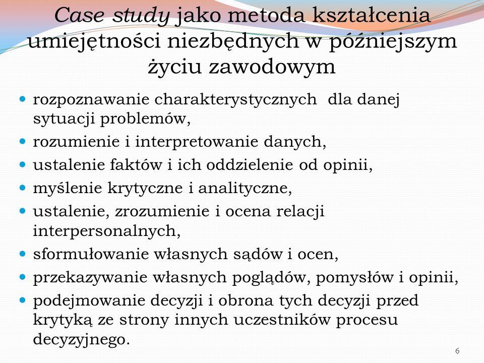 Case study jako metoda kształcenia umiejętności niezbędnych w późniejszym życiu zawodowym rozpoznawanie charakterystycznych dla danej sytuacji problem
