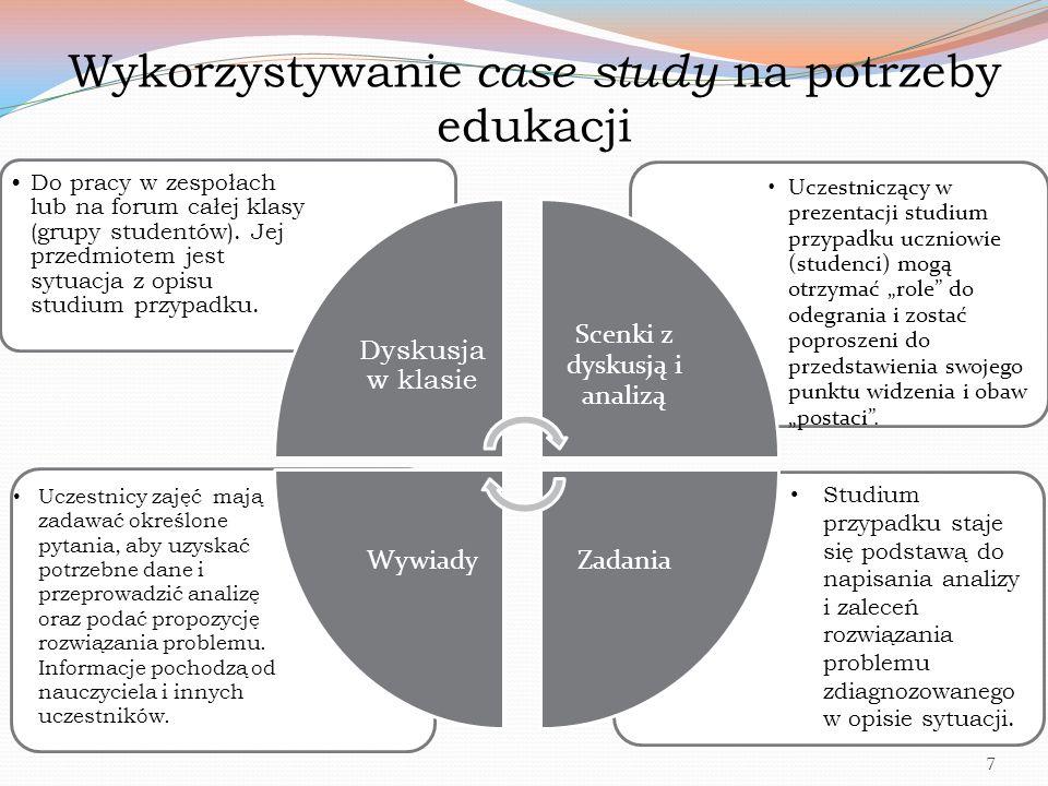 """Wykorzystywanie case study na potrzeby edukacji Uczestniczący w prezentacji studium przypadku uczniowie (studenci) mogą otrzymać """"role"""" do odegrania i"""