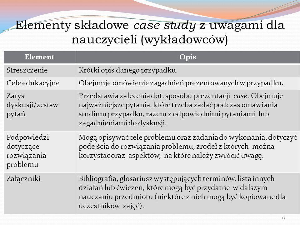 Elementy składowe case study z uwagami dla nauczycieli (wykładowców) ElementOpis StreszczenieKrótki opis danego przypadku. Cele edukacyjneObejmuje omó