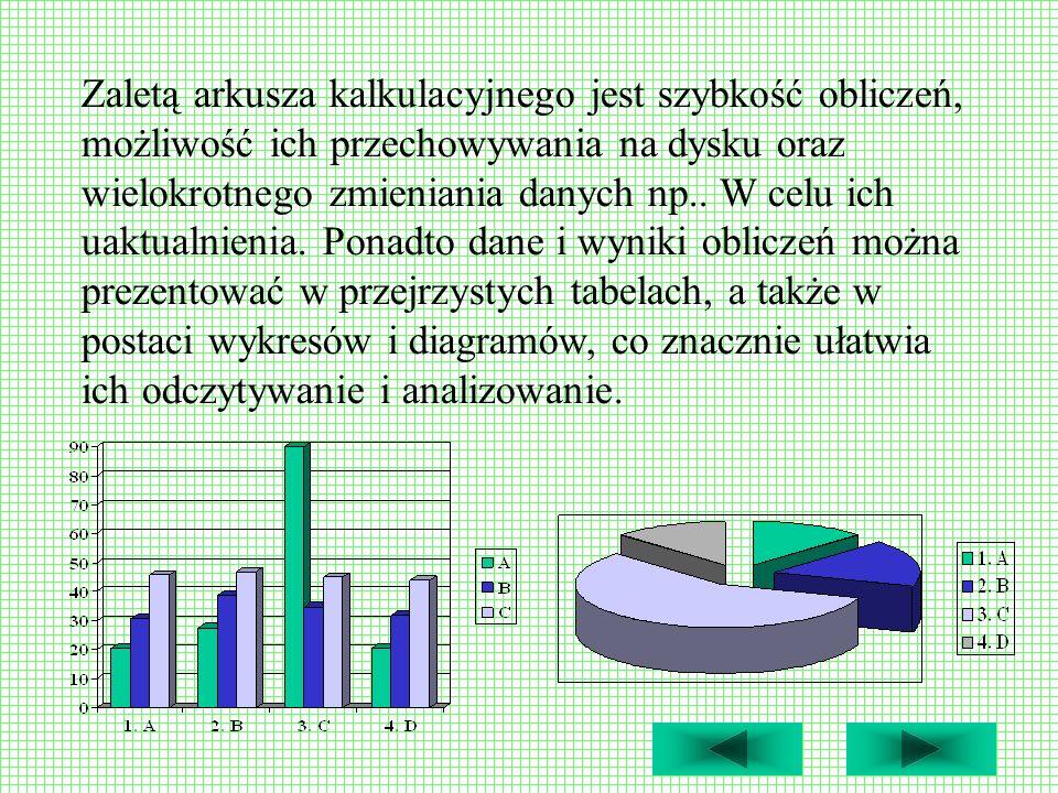 Zaletą arkusza kalkulacyjnego jest szybkość obliczeń, możliwość ich przechowywania na dysku oraz wielokrotnego zmieniania danych np.. W celu ich uaktu