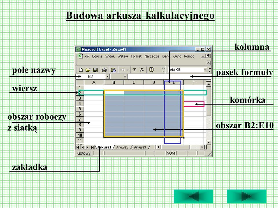 Budowa arkusza kalkulacyjnego Obszar roboczy arkusza kalkulacyjnego wypełnia tabela podzielona na pionowe rubryki, nazywane kolumnami (oznaczone wielkimi literami), i poziome, określane mianem wierszy (oznaczone liczbami).