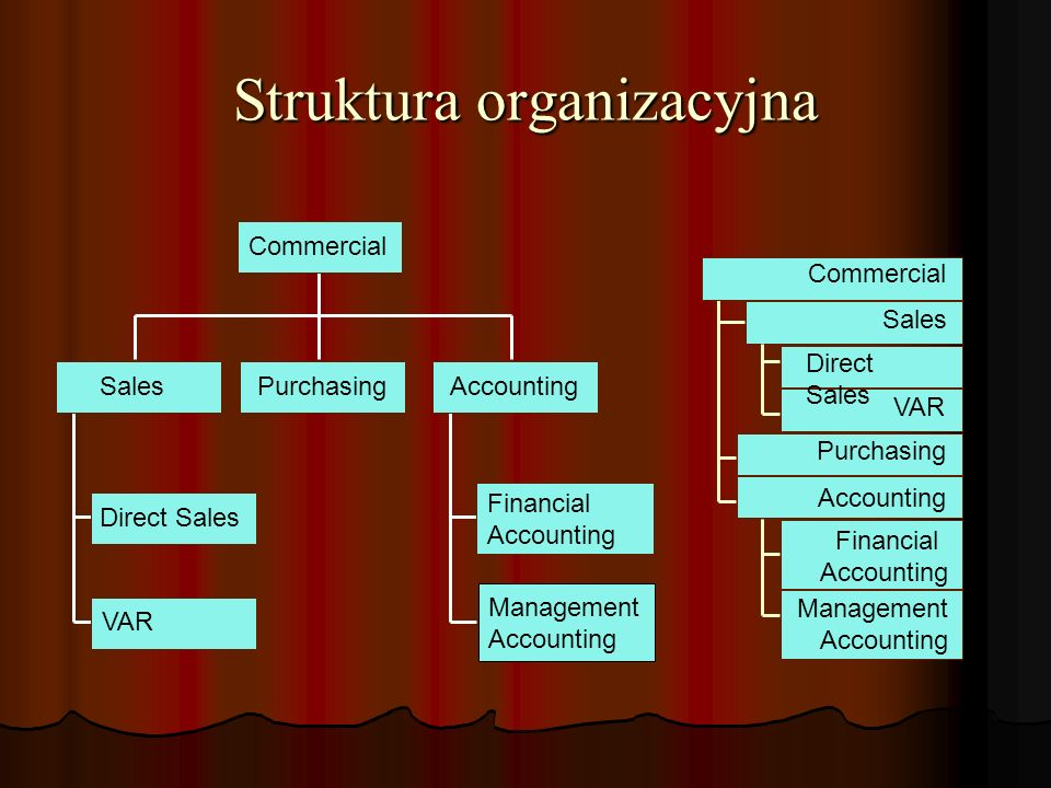 Struktura organizacyjna Commercial SalesPurchasingAccounting Direct Sales VAR Financial Accounting Management Accounting Commercial Sales Direct Sales VAR Purchasing Accounting Financial Accounting Management Accounting