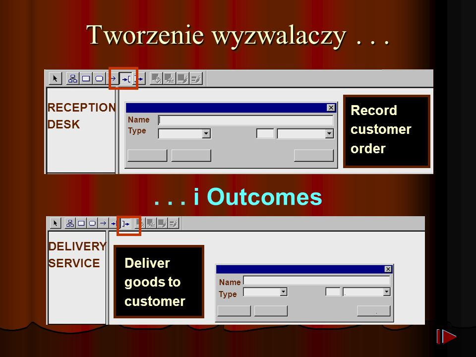 Tworzenie wyzwalaczy... Record customer order RECEPTION DESK Name Type... i Outcomes DELIVERY SERVICE Deliver goods to customer Type Name