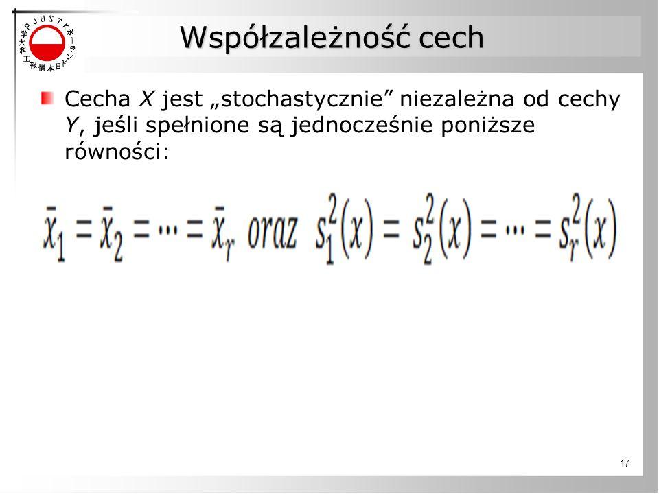 """Współzależność cech Cecha X jest """"stochastycznie"""" niezależna od cechy Y, jeśli spełnione są jednocześnie poniższe równości: 17"""