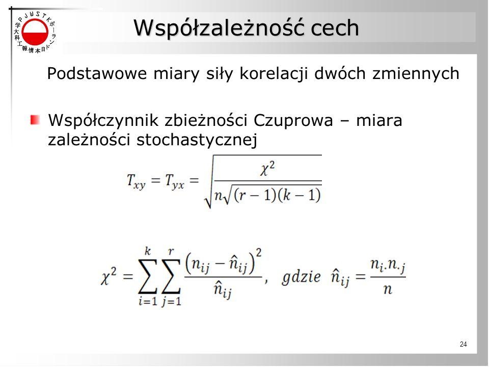 Współzależność cech Podstawowe miary siły korelacji dwóch zmiennych Współczynnik zbieżności Czuprowa – miara zależności stochastycznej 24