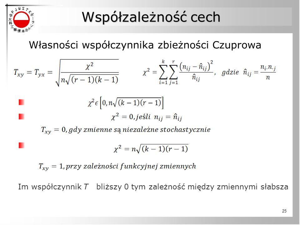 Współzależność cech Własności współczynnika zbieżności Czuprowa Im współczynnik T bliższy 0 tym zależność między zmiennymi słabsza 25