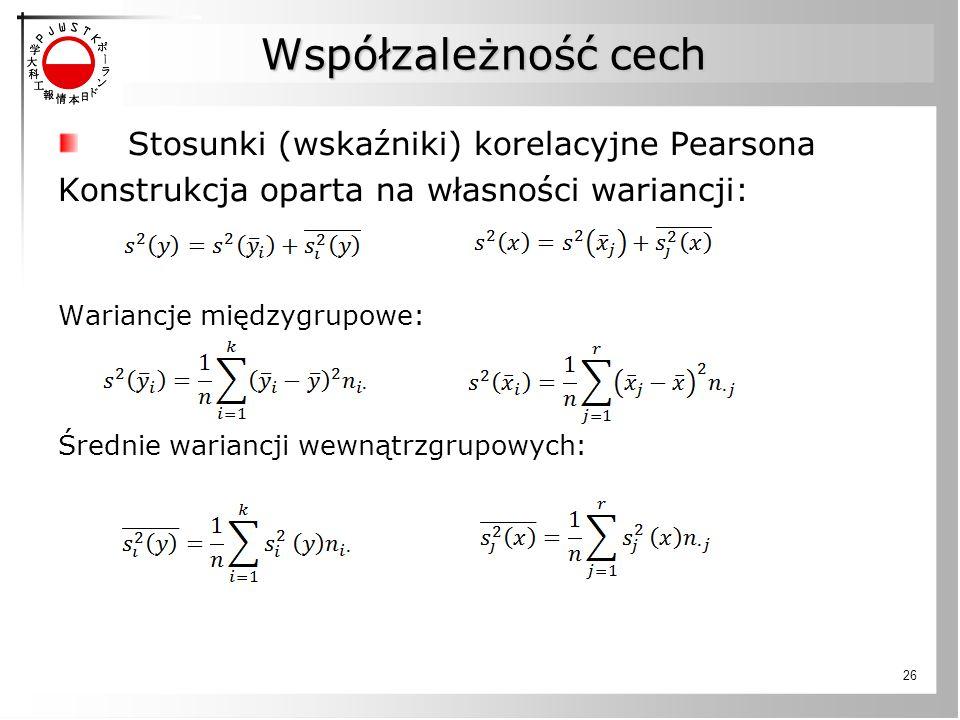 Współzależność cech Stosunki (wskaźniki) korelacyjne Pearsona Konstrukcja oparta na własności wariancji: Wariancje międzygrupowe: Średnie wariancji we