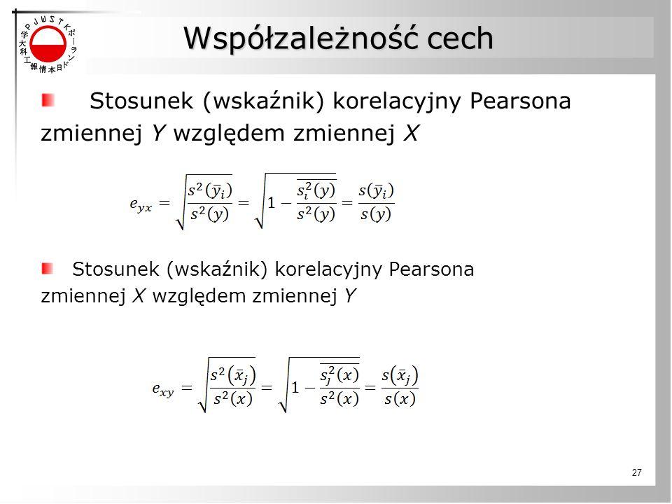 Współzależność cech Stosunek (wskaźnik) korelacyjny Pearsona zmiennej Y względem zmiennej X Stosunek (wskaźnik) korelacyjny Pearsona zmiennej X względ