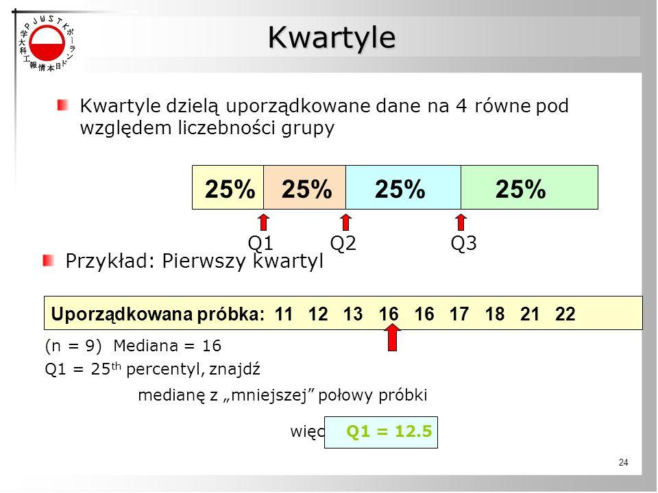 """24 Kwartyle Kwartyle dzielą uporządkowane dane na 4 równe pod względem liczebności grupy 25% Uporządkowana próbka: 11 12 13 16 16 17 18 21 22 Przykład: Pierwszy kwartyl (n = 9) Mediana = 16 Q1 = 25 th percentyl, znajdź medianę z """"mniejszej połowy próbki więc Q1 = 12.5 Q1Q2Q3"""