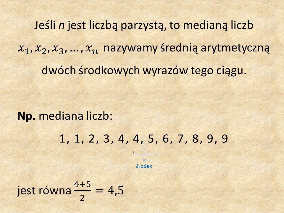 Dominantą zestawu liczb nazywamy taką wartość, która w tym zestawie występuje najczęściej.